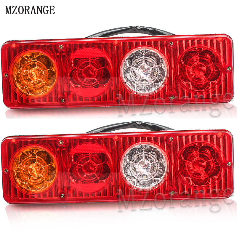 MZORANGE 2pcs LED Car Rear Tail Lights Lamp Brake Stop Light for Trailer Caravan Truck Lorry 20LED 12V 3Colors Car Light Assembly     - title=