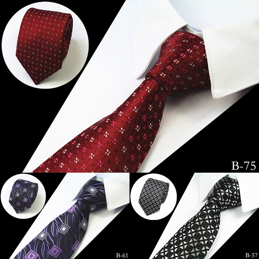 JEMYGINS New Slim Luxury Tie 100% Silk Jacquard Woven Ties For Men 7cm Striped Neckties Man's Neck Tie For Wedding Business