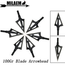 3/6/12pcs 100Gr Archery Blade Arrowhead 3 Blades Broadheads Target Arrow Point Tips Shaft Shooting Hunting Accessories