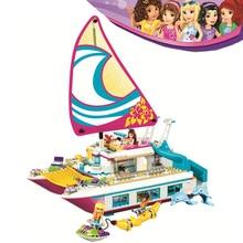 Bela Compatible Legoe giftse Girls Friends Heartlake Sunshine Yacht 614pcs 41317 Строительные блоки DIY Кирпичи Игрушки для детей
