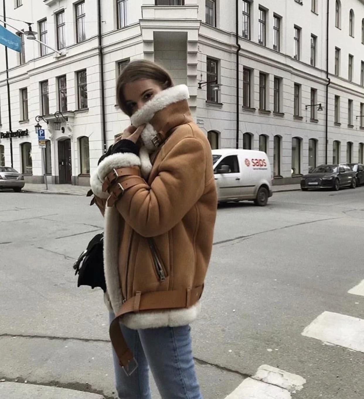 Mouton Veste Peau Surdimensionné Épaississent Manteau vent D'hiver Femmes Suède De Moto Biker Cuir Laine D'agneau En Dames Beige Coupe qwvxqgCf