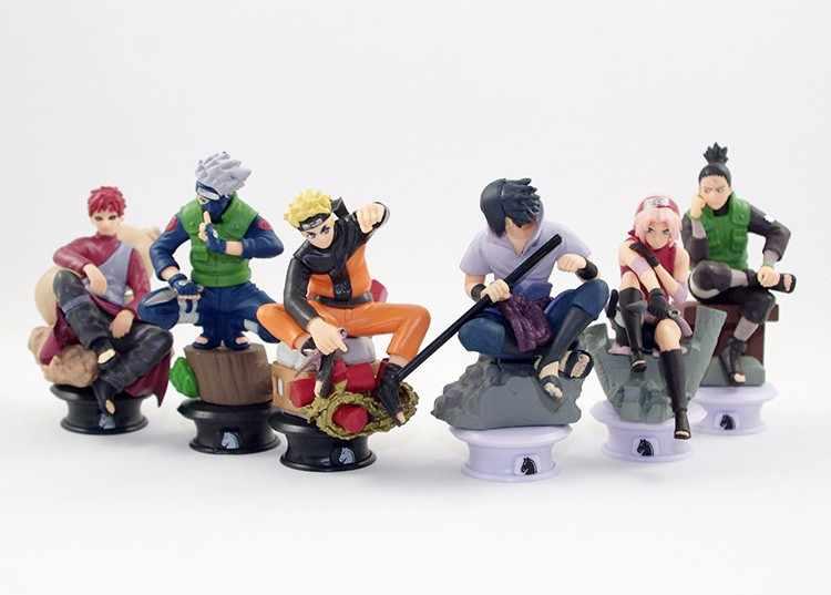 6pcs/lot Naruto 8cm Chess Action Figure New Sasuke Ninja Model Toy