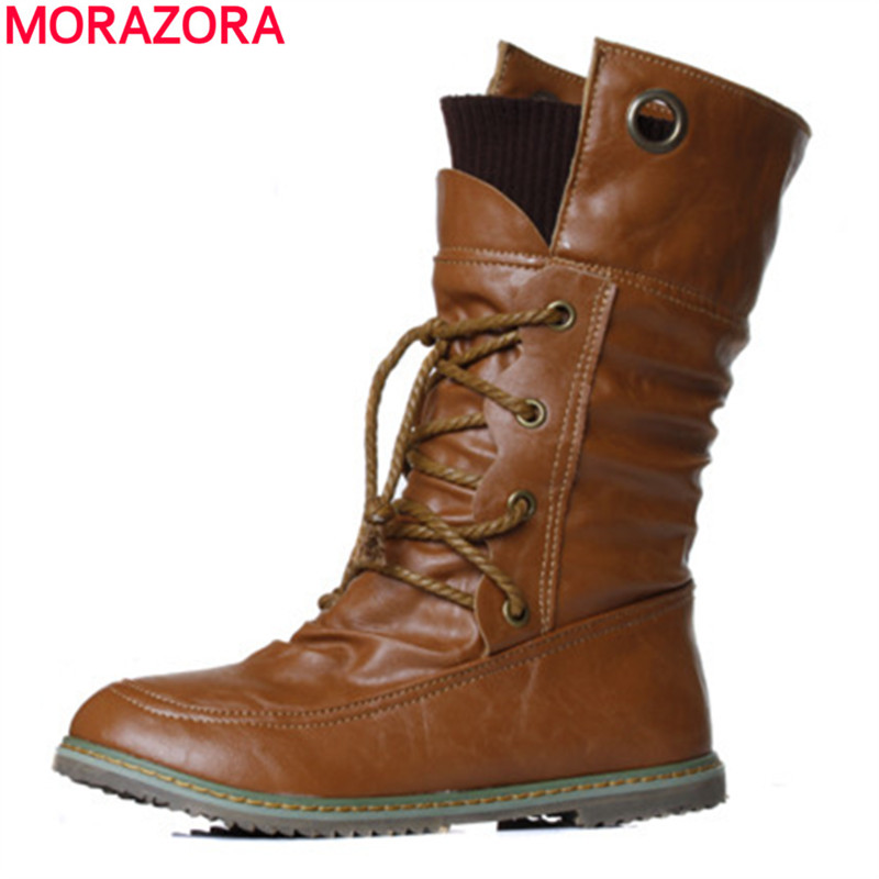 MORAZORA 2017 New fashion motorcycle ankle boots for women spring autumn fashion boots pu leather shoes