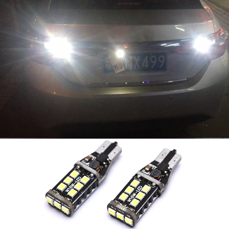 2X Canbus T15 W16W 2835 SMD 15 LED 15W Car Backup Reverse High Stop Light White Baklyktpære for Toyota Corolla Camry Prado