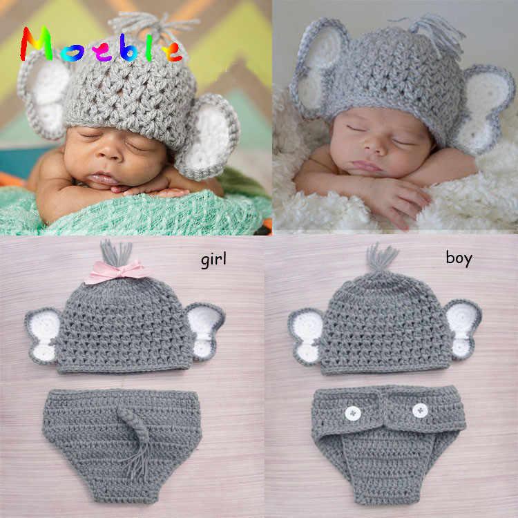 3dffef94c48 Newborn Baby Boy Girl Crochet Elephant Hat Diaper Set Knitted Infant Baby  Photo Props Crochet BABY