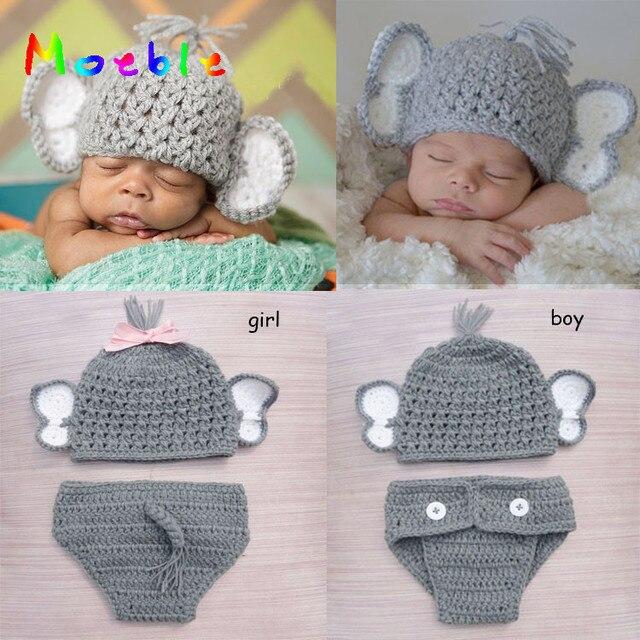 Bebê recém-nascido Da Menina do Menino Chapéu de Crochê Elefante Conjunto  Fralda de Malha b1b9bcf480d