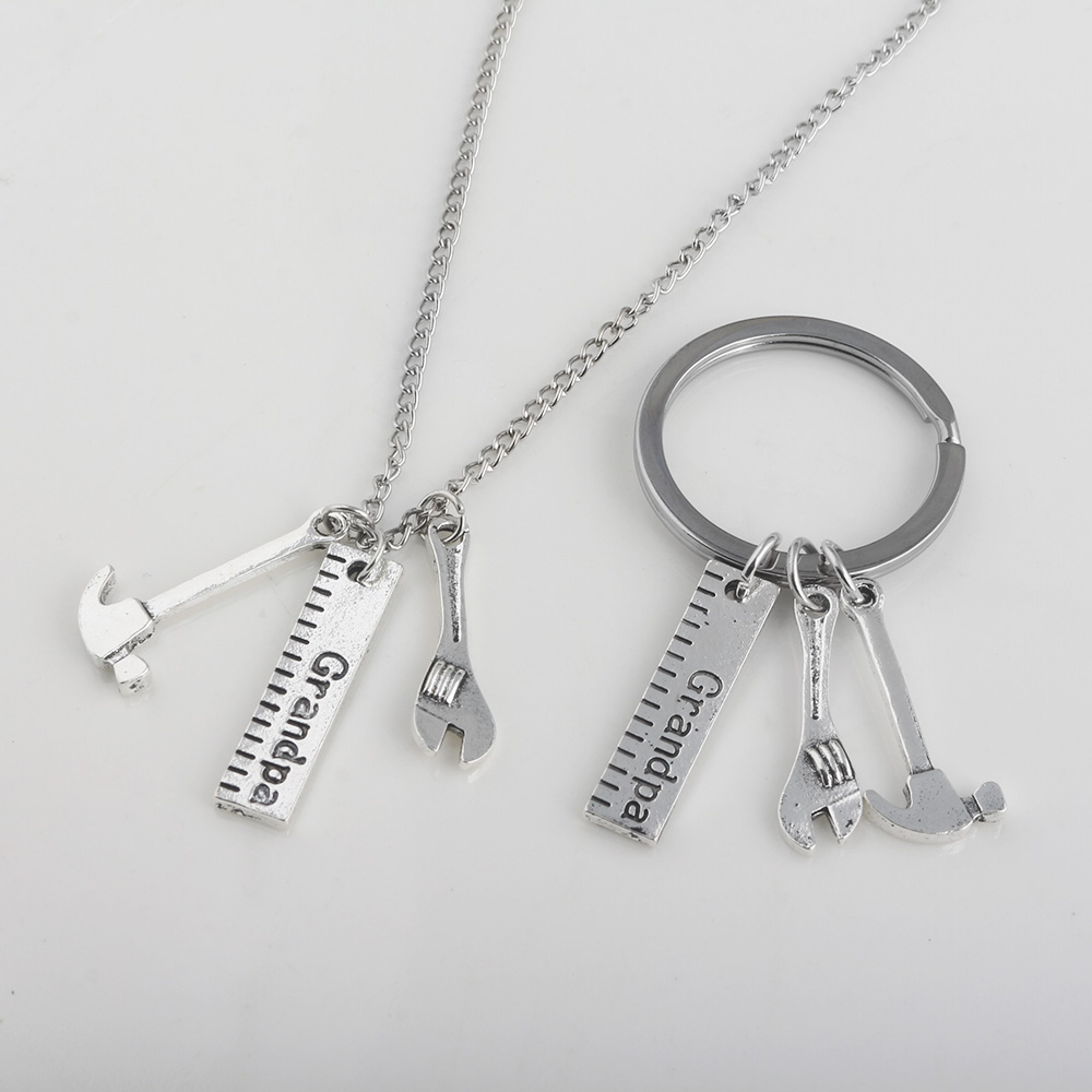 SG Newest Fashion Grandpa Work Tools Necklace Pendant Tool Ruler Wrench Hammer Men&Women Necklaces & Keyring Fathers Day Gift