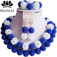 Fashion Nigeria Wedding blue african beads jewelry set Crystal Plastic pearl necklace Bridal Jewelry Sets Free shipping VV 095