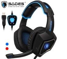 Sades espírito lobo usb 7.1 surround sound gaming headset usar confortável fones de ouvido com fio com luz led legal para portátil & pc