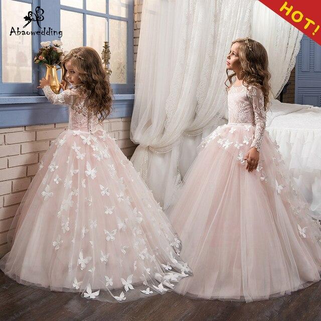 043a8f20a0 Komunii świętej sukienki suknia balowa długie rękawy koronkowe guzik płaski  solidna O-neck kwiat dziewczyna