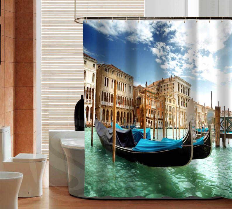 Последняя мода Венеция Лодка на заказ занавеска для душа полиэфирная ткань печать водонепроницаемая занавеска для ванной с крюком банная занавеска
