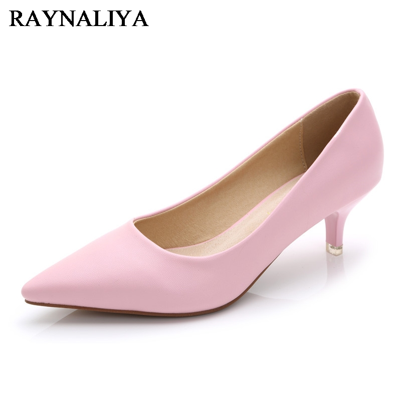 2019 New Arrival Women Med High Heel Brand Ladies Pointed Toe Shoes Ladies Genuine Leather Fashion Pumps Office Shoes JS-A0005
