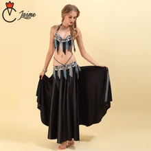 Belly Dance Costume Fringed beads Stage Performance Oriental Belly Dancing Clothes Suit Bead Outfit Black 3pieces Bra Belt Skirt 2018 performance belly dancing egyptian costumes oriental dace bra belt skirt belly dance 3pcs costume set