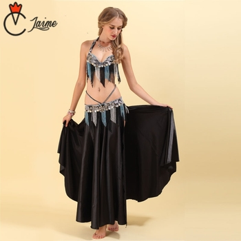 цена на Belly Dance Costume Fringed beads Stage Performance Oriental Belly Dancing Clothes Suit Bead Outfit Black 3pieces Bra Belt Skirt