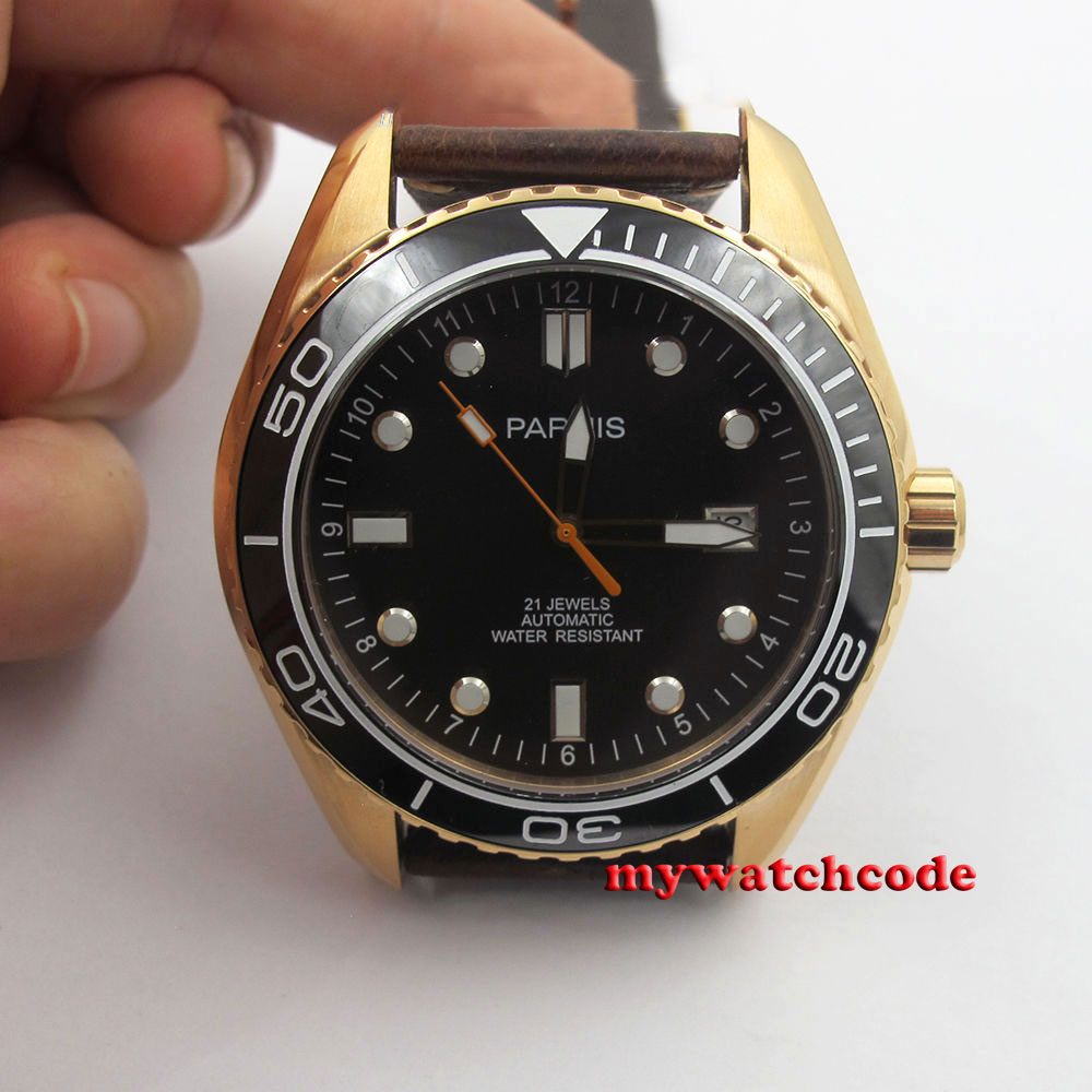 45mm Parnis black dial golden plated case Ceramic miyota automatic mens watch