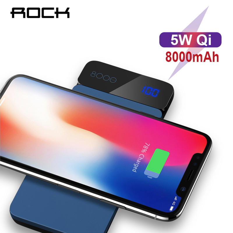 ROCK 8000mAh QI Wireless Charger Power Bank For iPhone Samsung Xiaomi Fast Powerbank Type C External Battery Pack