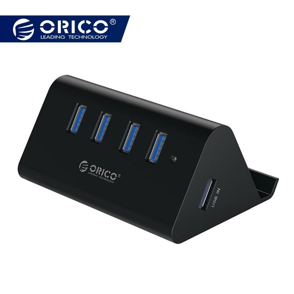 ORICO 5 Gbps High Speed Mini 4 ports USB 3.0/2,0 HUB für Desktop Laptop mit Stand Halter für Telefon tablet PC-Schwarz/Weiß