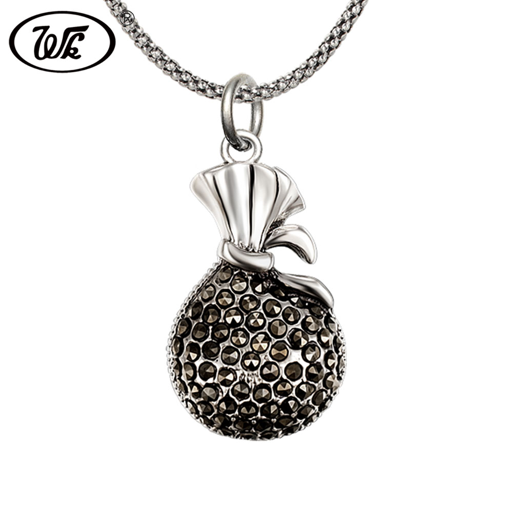 WK Genuine 925 Thai Silver Jewelry Retro Vintage Wallet Bag Pendant Necklace For Women Girls 18 Inch Popcorn Chain 45CM 4W NZ054 chukui 3 layered chain necklace women silver layers beads chain necklace gifts for girls cheap 18 inch