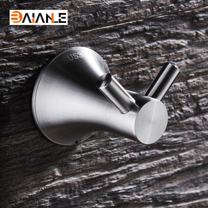 BAIANLE Robe Hook Stainless Steel Brushed Nickel Coat Clothes Hooks Towel Hanger Bathroom Accessories