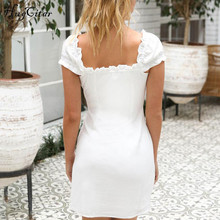 FREE SHIPPING !! Short Sleeve V-neck Buttons Sexy White Solid Dresses JKP806