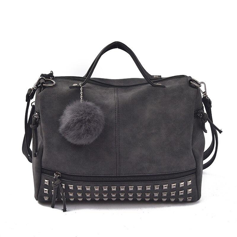 Large Capacity Famous Brand  Rivet Handbag Fashion Women Tassel Sac A Main Shoulder Bag Pu Leather Female Big Casual Tote Bag