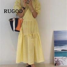 Женское клетчатое платье rugod свободное пляжное большого размера
