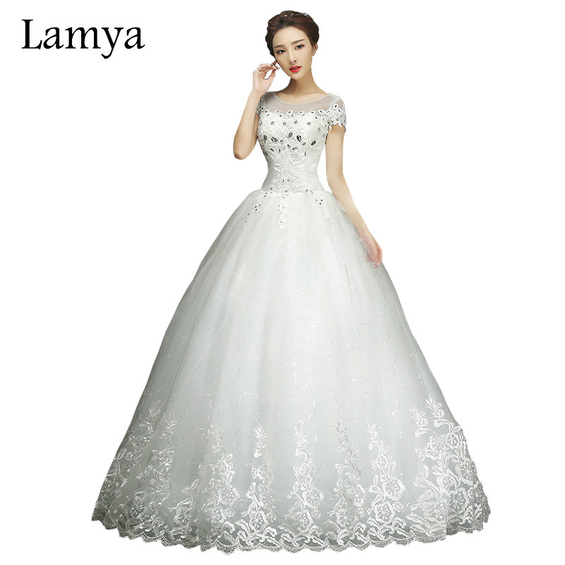 Lace Wedding Dresses New Summer Ball Gown Bottom Up Back Crystal Flower Sleeves Tulle Princess