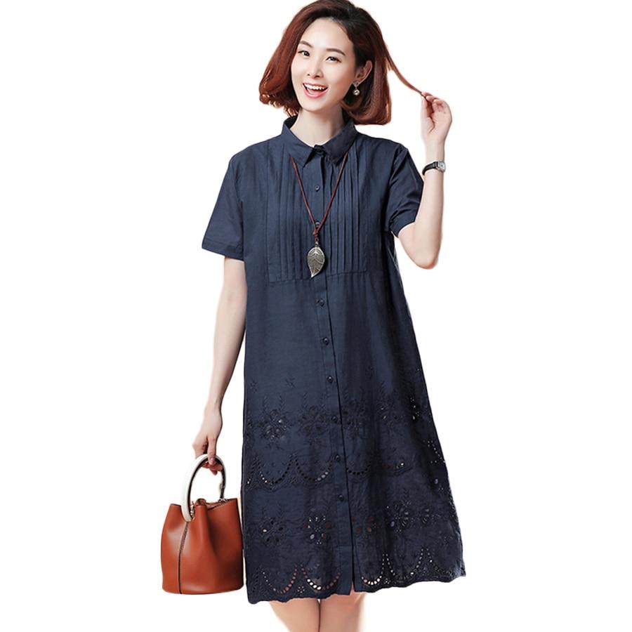 2018 Office Summer Shirt Dress Elegant Blue Stripped Linen Turn Down Collar Wear to Work Shirts Women Dresses Dantel Bluz C0039G