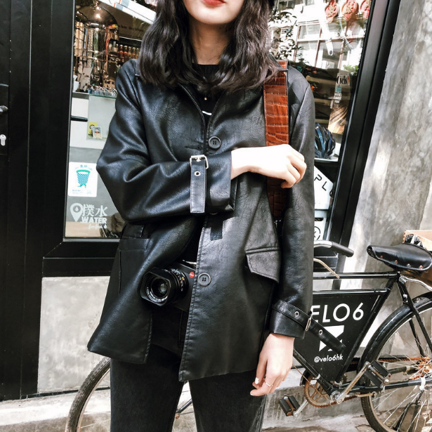 Female Top Pockets Button Sashes Full 2018 New Design Spring Autumn Pu   Leather   Jacket Coat Faux Soft Slim Motorcycle Jackets