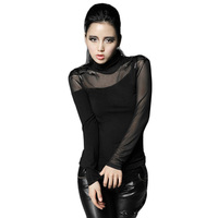 Spider Web Women's Punk Sexy T shirt Tops Stand Collar Steam Punk T shirt Women Fitness Clothing With Transparent Mesh