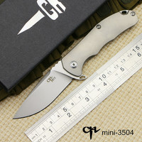 MINI CH 3504 Bearings Flip Folding Knife Aus 8 Blade Ball Bearings Outdoor Titanium Handle Camping