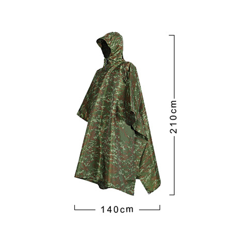 Camouflage Waterproof UK Army Hooded Ripstop Festival Rain Poncho Camping Hiking