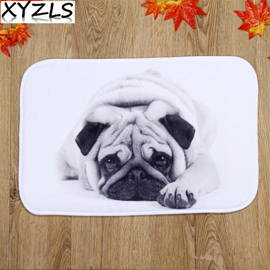 Rubber floor mats for dogs - Xyzls Your Friend Pug Little Dog Floor Mats Carpet Nonslip Doormats Kitchen Rugs Porch Throw For Bedroom Hallway Living Room