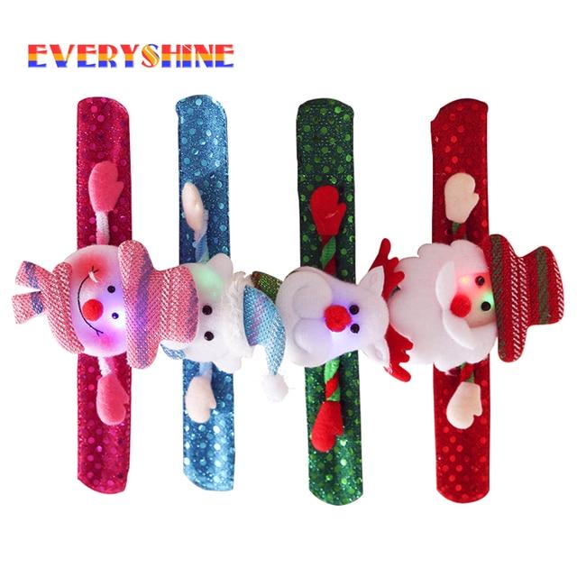 2017 Merry Christmas 1x Novelty Christmas Slap Bracelet Christmas Tree Decor Pat Pat Circle Hand Ring Children Gift Toys SD198