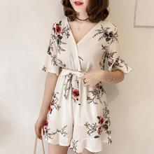 2019 New Women Summer Jumpsuits Chiffon Floral Printing Casual Clothes for Beach Vacation