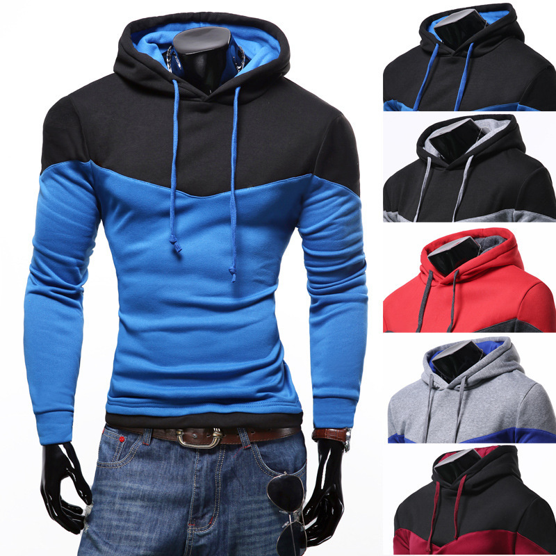 Mens Fashion Hoodies cotton Slim Stitching Color mens hooded Pullover Sweatshirts for hip hop hoodie men casual
