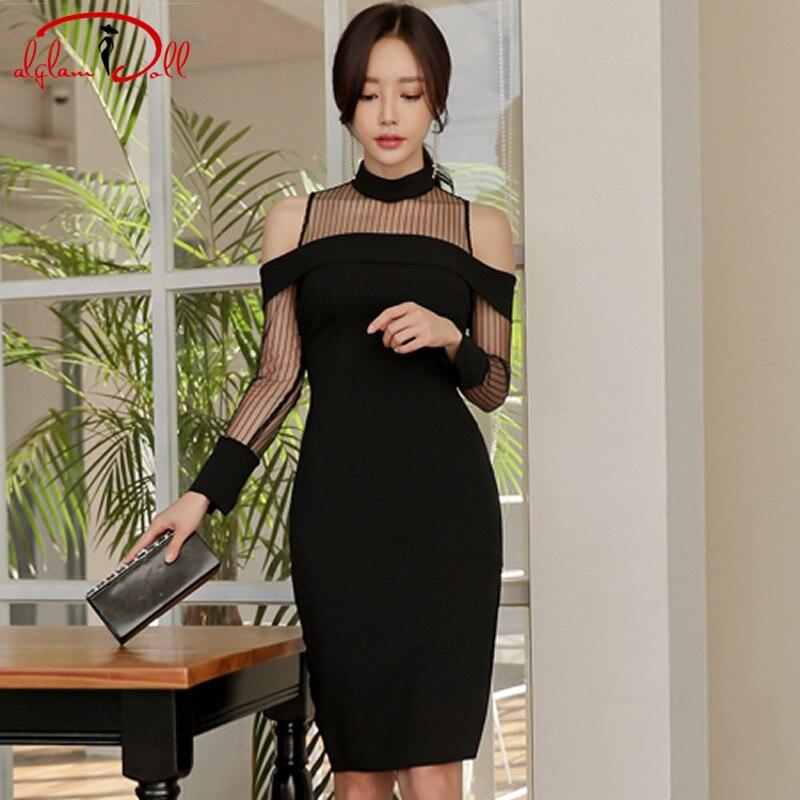 2018 Autumn Club Sexy Vestidos Women Knee-Length Bodycon Cloth Slim Pencil Split Mesh Black Dress