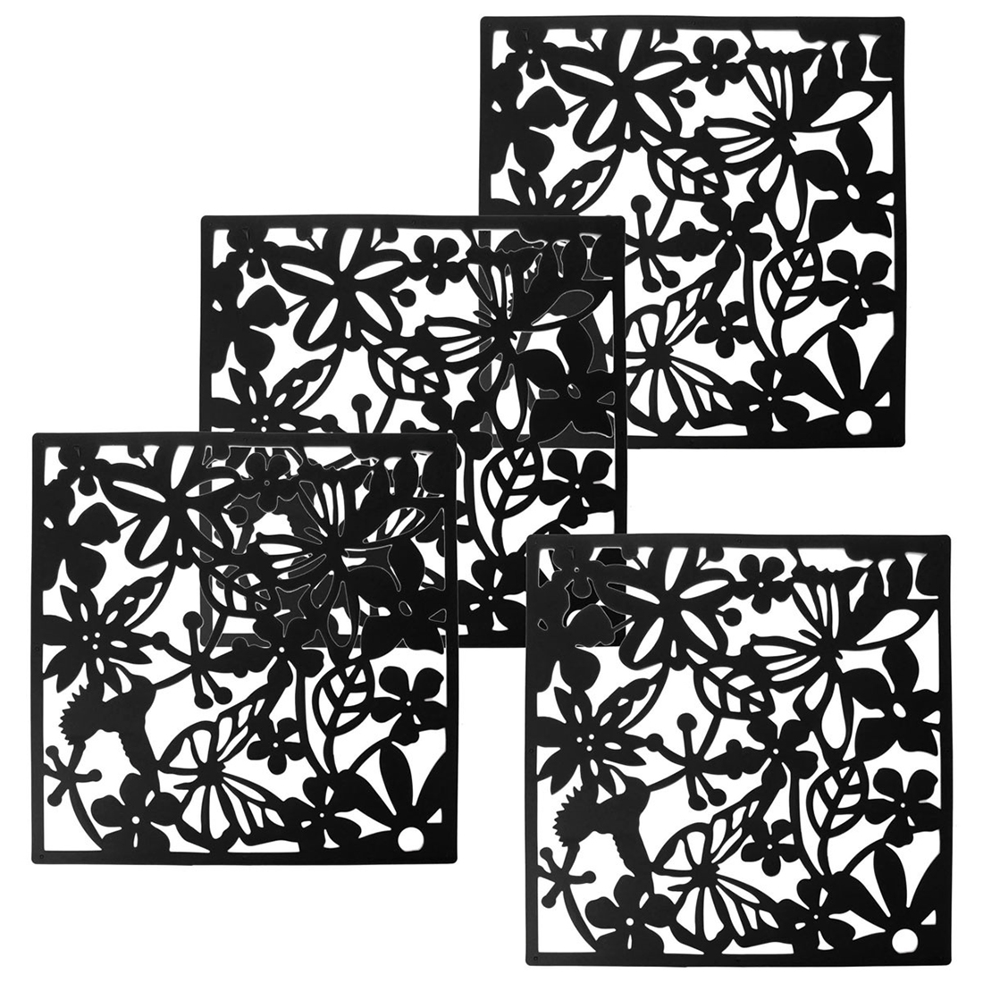 Fashion 4 Pcs Butterfly Bird Flower Hanging Screen Partition Divider Panel Room Curtain Home Decor Black