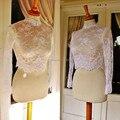 Alta Neck Branco Marfim Lace Jacket Frete Grátis Longas Mangas Sheer Lace Wraps Nupcial Feito Sob Encomenda Do Casamento Acessório