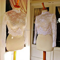 High Neck White Ivory Lace Jacket Free Shipping Long Sleeves Sheer Lace Bridal Wraps Custom Made Wedding Accessory