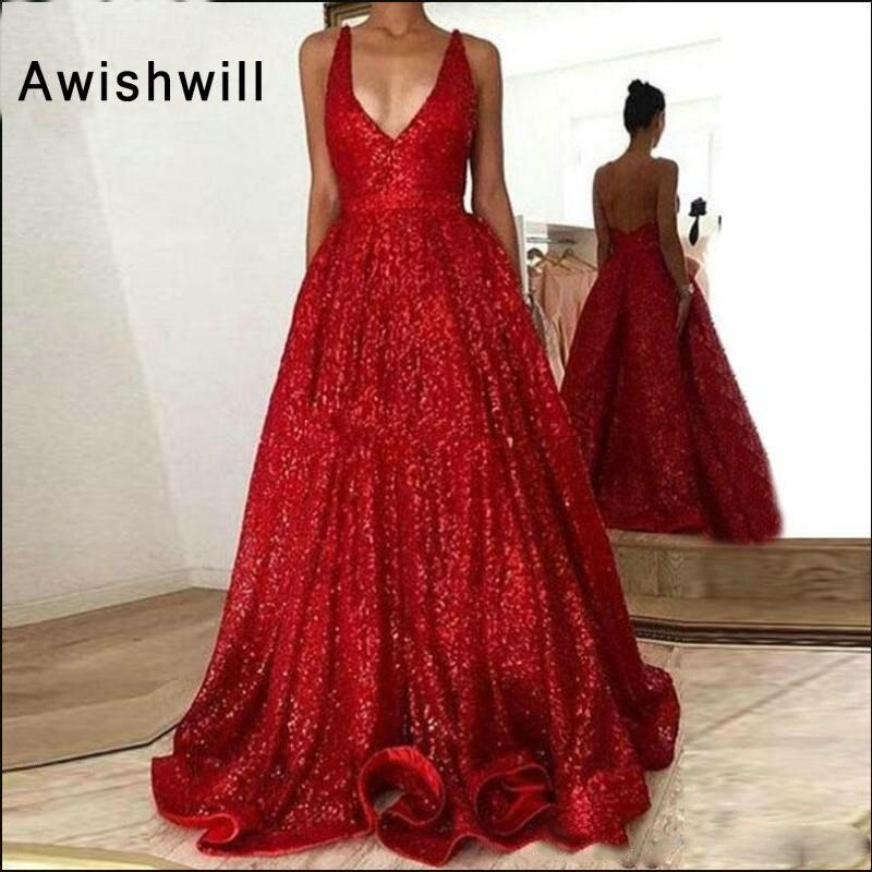 Rouge paillettes robe de bal longues robes de bal fête porter profonde col en v Sequin étage longueur dos nu robe formelle brillant robe de soirée