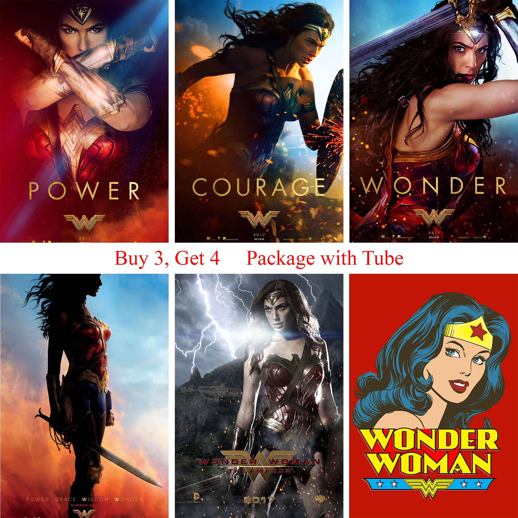 Wonder Woman Posters Wall Stickers High Quality Home Decoration White Coated Paper Prints Home Art Brand