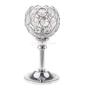 Candle-Holder Ornament Tealight Crystal Home-Decor Christmas-Events Tabletop Metal Holidays