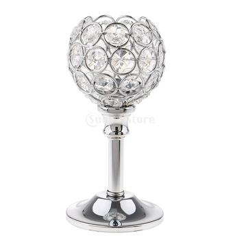 Crystal Metal Candle Holder Candlestick Wedding Holidays Christmas Events Tabletop Home Decor Ornament Tealight Candle Holders 1