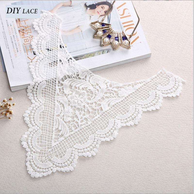 ᗑ】Blanco encaje escote Applique Trim encaje tejido de algodón ...