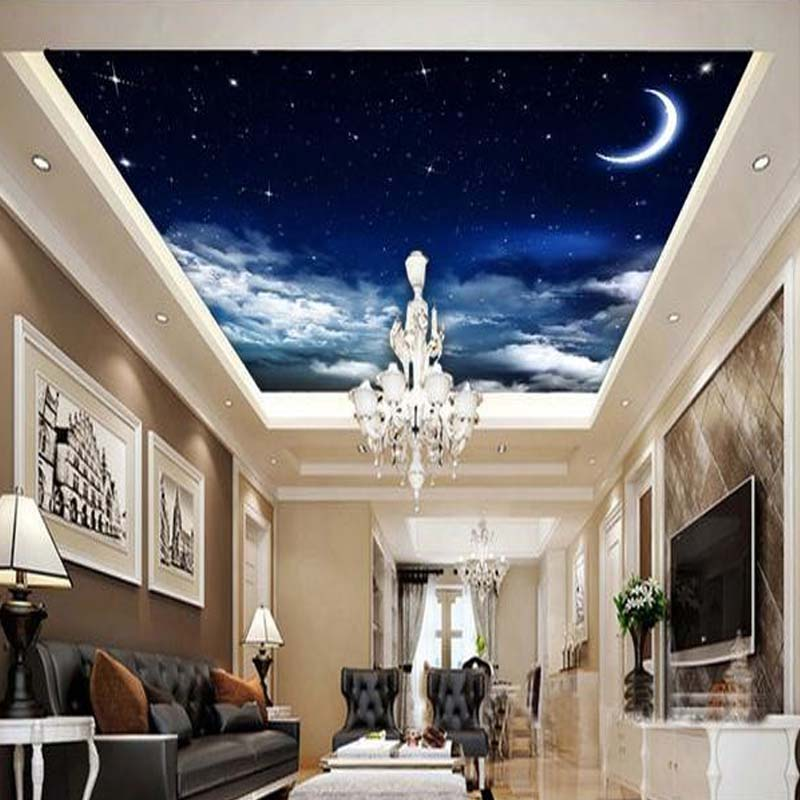 Custom 3D Ceiling Mural Wallpaper Landscape Night Sky Stars And Moon Hotel Restaurant Setting Room Ceiling Wall Decor Wall Paper