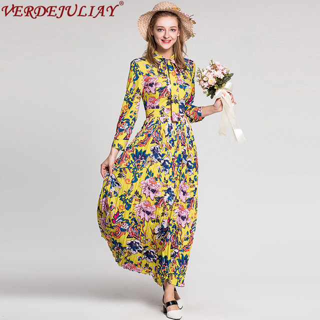 ca15902dcf6 Holiday Dresses 2019 Women Fashion Early Spring Summer Flowers Print Bow  Collar Ankle Length Long Yellow Pleated Runway Dress