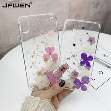 Real Dried Flower Cases For iPhone XS Max XR X XS 6 6S 7 8 Plus Case Handmade Clear Transparent Soft TPU Flower Phone Back Cover real dried flower handmade phone cases for iphone x xs max xr 6 6s 7 8 plus case cover for samsung galaxy s8 s9 s10 plus note8 9