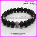 10pcs Black Matte Beaded charm Bracelet with silver metal alloy bead Men Bracelet 8mm bead stretch Bracelet