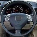 Couro preto mão-costurado tampa da roda de direcção do carro para honda accord 7 2002-2005 (raios)